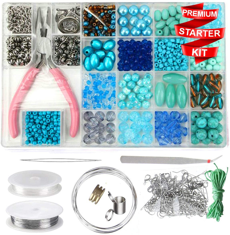 Gemybeads Jewelry Making Supplies - Jewelry Making Kits for Adults, Teens, Girls, Beginners, Women - Includes Instructions, Tools, Beads, Charms for Necklace, Earring, Bracelet Making Kit - Turquoise Set