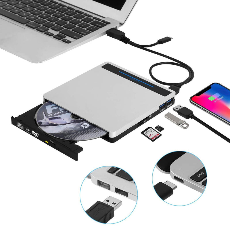 External CD Drive DVD Drive NOLYTH 5 in 1 USB CD DVD Drive CD Player Burner Writer for Laptop/MacBook/Windows/PC with SD TF Card Reader/2 USB3.0 Hubs