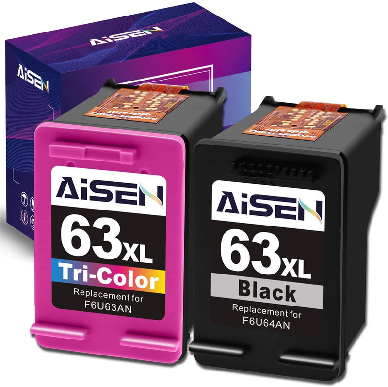 AISEN Remanufactured HP Ink Cartridge 63 Replacement for HP 63XL 63 XL Used in Officejet 3830 5255 5258 4650 5230 Envy 4520 4512 4513 DeskJet 1112 1110 3630 3632 2130 2132 Printer(1 Black 1 Tri-Color)
