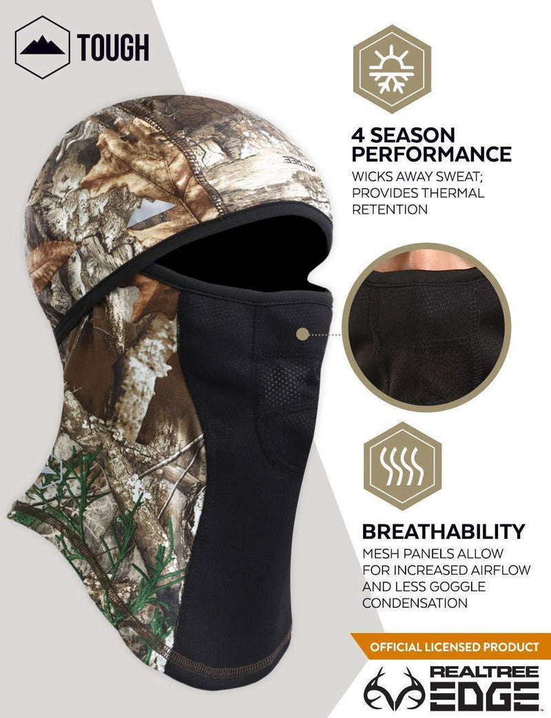Realtree EDGE Camo Balaclava Face Mask - Cold Weather Ski Mask for Men - Windproof Winter Snow Gear For Hunting, Fishing & Camping. Ultimate Protection from The Elements