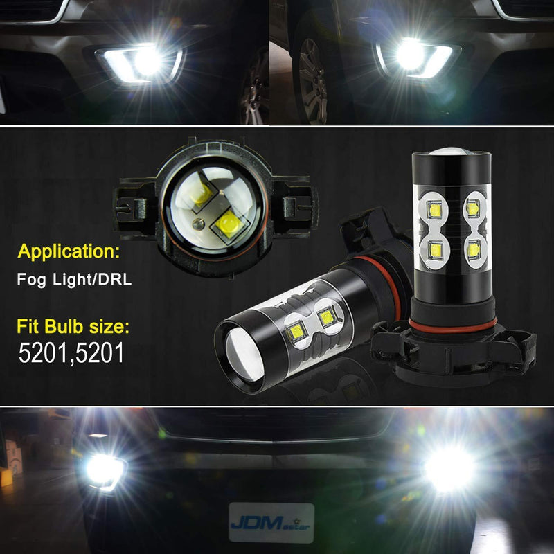 JDM ASTAR Extremely Bright Max 50W High Power 5202 5201 PS19W LED Fog Light Bulbs for DRL or Fog Lights, Xenon White