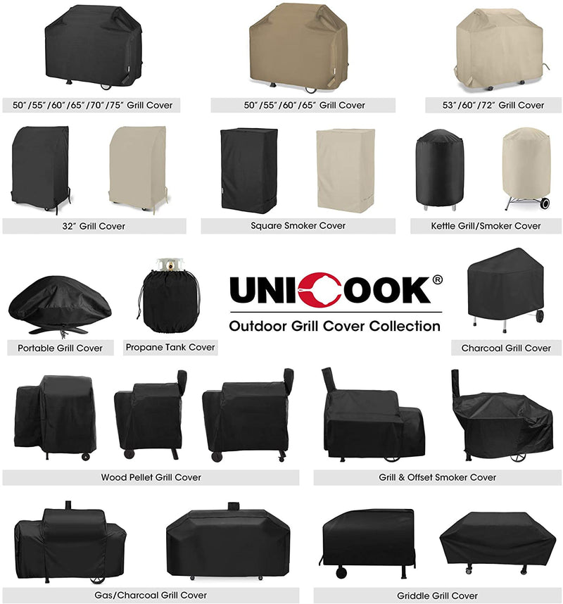 Unicook Heavy Duty Waterproof Barbecue Gas Grill Cover, 55-inch BBQ Cover, Special Fade and UV Resistant Material, Durable and Convenient, Fits Weber Char-Broil Nexgrill Brinkmann Grills and More