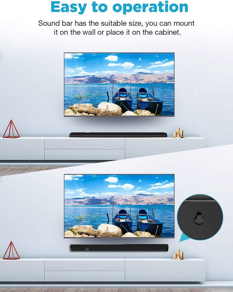 Soundbar, Meidong Wired and Wireless Home Theater Bluetooth TV Speaker with 2.0 Channel Stereo Surround Sound for TV/PC/Smartphone/Wall-mountable