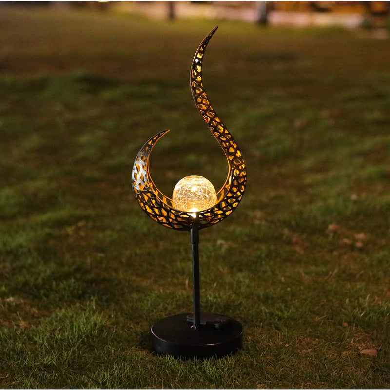 ATHLERIA Garden Solar Table Lights Outdoor Flame Shape Crackle Glass Globe Vintage Metal Lights,Waterproof Warm White LED for Lawn,Patio or Courtyard (Bronze)