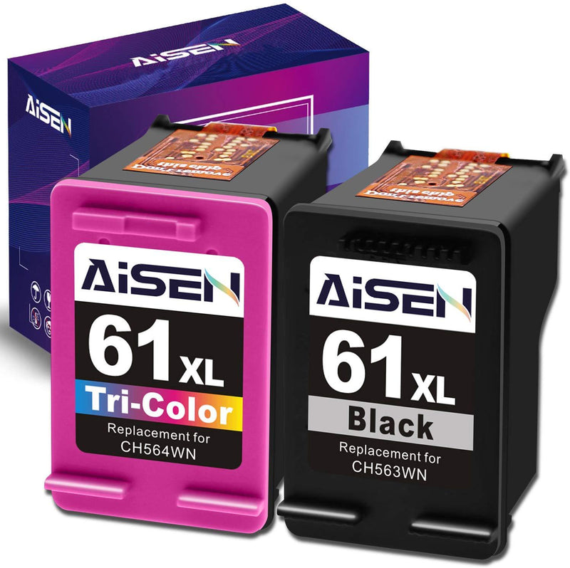 AISEN Remanufactured HP Ink Cartridge 61 Replacement for HP 61XL 61 XL Used in Envy 4500 5530 5535 Deskjet 1000 1056 1510 1512 1010 1055 2540 2542 3050 3510 3050A Officejet 2620 (1 Black 1 Tri-Color)
