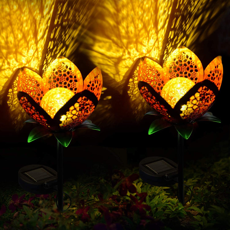 ATHLERIA Garden Solar Lights Outdoors, 2pack Pathway Hollow Flower Stake Lights Waterproof Landscape Led Decorative Light for Patio, Walkways,Courtyard, Path,Yard, Lawn(Warm White)