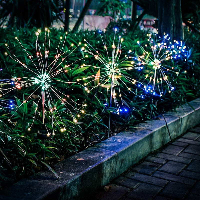 EPIC GADGET Solar Firework Light, Epicgadget 105 LED Multi Color Outdoor Firework Solar Garden Decorative Lights for Walkway Pathway Backyard Christmas Decoration Parties (2 Pieces)