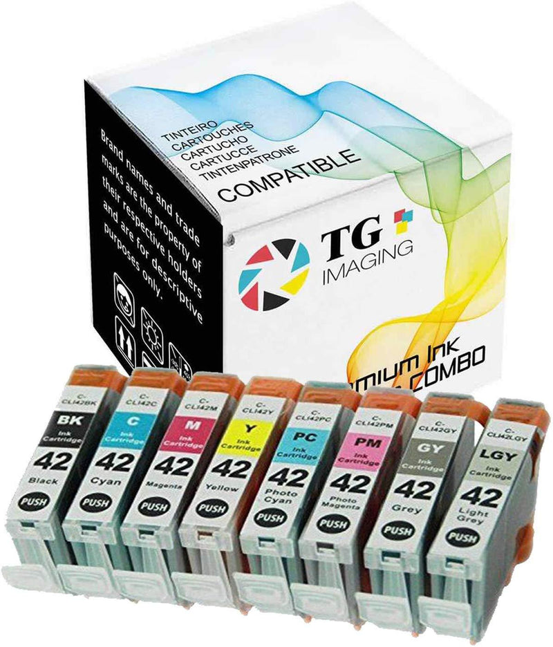 TG Imaging Compatible Ink Replacement for CLI-42 CLI42 Pixma Pro-100 Series (Black, Cyan, Magenta, Yellow, Photo Cyan, Photo Magenta, Grey, Light Grey, 8-Pack)