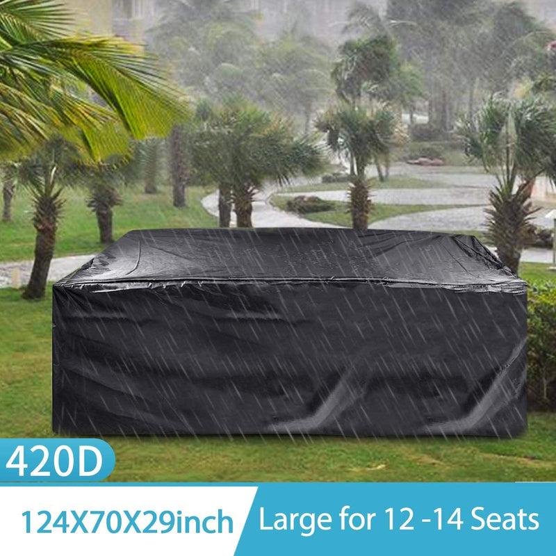 FLYMEI Outdoor Patio Furniture Covers, 315x180x74cm 420D Oxford Polyester Extra Large Size Furniture Set Covers Fits to 12-14Seat Black 124''x70.87''x29.13''