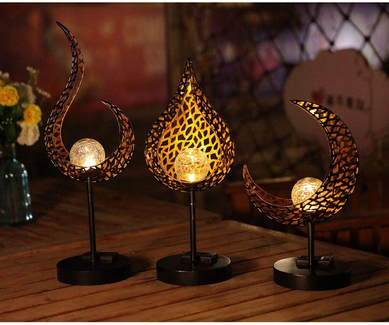 ATHLERIA Garden Solar Table Lights Outdoor Drip Shape Crackle Glass Globe Vintage Metal Lights,Waterproof Warm White LED for Lawn,Patio or Courtyard (Bronze)