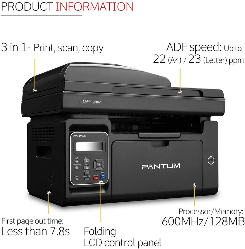 Pantum M6552NW Monochrome Laser Multifunction Printer with Wireless Networking Mobile Printing Large Paper Capacity