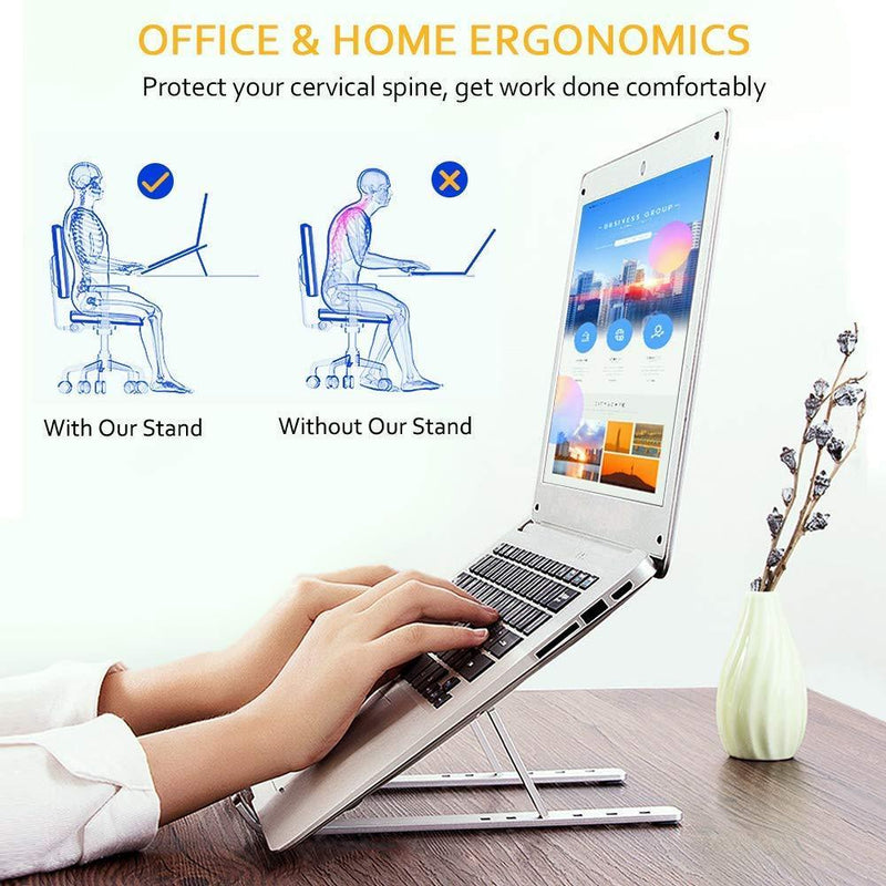 COMSOON Laptop Stand, Adjustable Portable Laptop Holder for Desk, Aluminum Ventilated Notebook Riser for MacBook Air Pro, Dell XPS, More 10-15.6 inches PC Computer, Tablet, iPad (Silver)