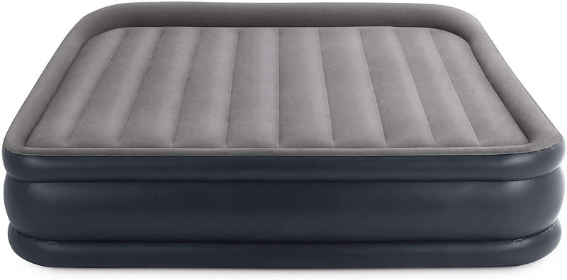 Intex 16.5 Inch Deluxe Elevated Inflatable Pillow Rest Air Mattress Bed with Built-in Internal Pump, King