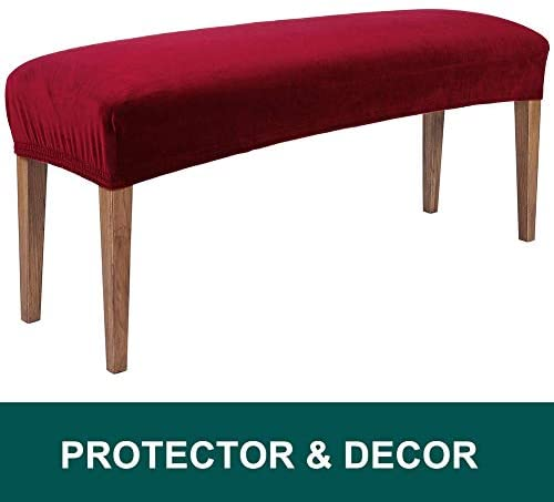 smiry Velvet Dining Room Bench Covers - Soft Stretch Spandex Upholstered Bench Slipcover Removable Washable Bench Seat Protector for Living Room, Kitchen, Bedroom (Peacock Green)