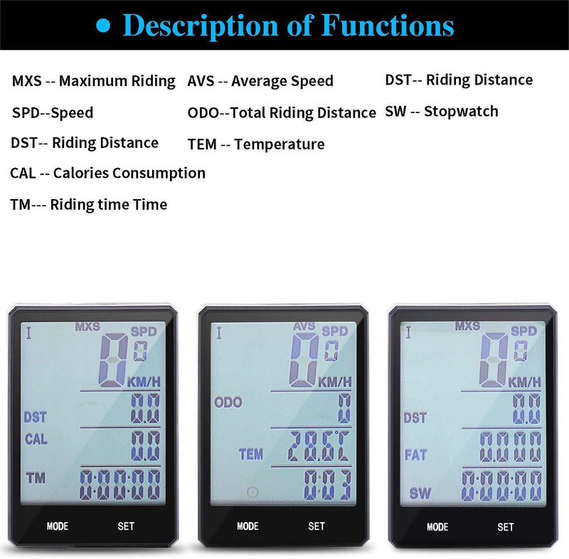 Wireless Bike Computer, Bicycle Speedometer with 2.8 Inch LCD, White Backlight, IPX6 Water Resistant Odometer Cycling Accessories