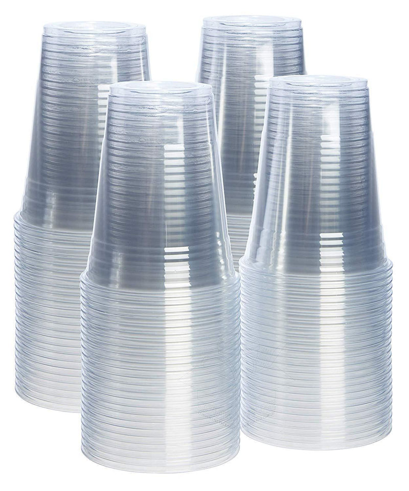 [100 Pack - 9 oz.] Crystal Clear PET Plastic Cups, Party Cups by Comfy Package