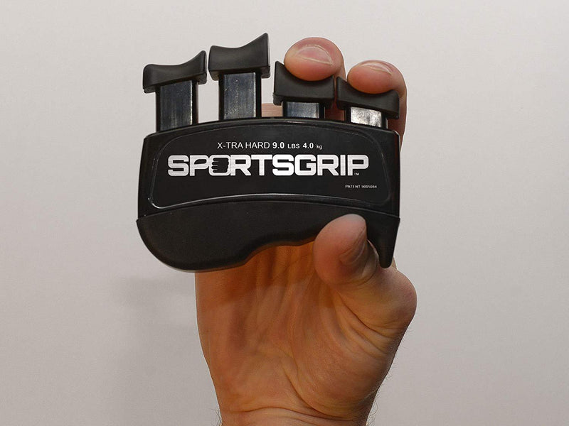 SPORTSGRIP Hand and Finger Exerciser (Xtra Hard - 9lbs / 4.0kg) - Best Ergonomic Finger Strengthener to Improve Grip for All Sport Athletes
