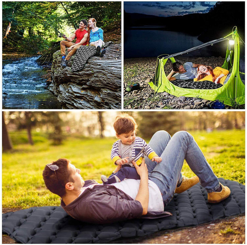 Furthertry Camping Sleeping Pad, Ultralight Camping Pad for Backpacking,Travelling and Hiking Self-Inflating Camping Pad, Camp Mattress, Compact Ultralight Hiking Pad-Black