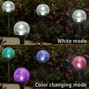 EPIC GADGET 3 Pcs Solar Garden Lights Outdoor, Color Changing & White Two LEDs, Decorative Ball Solar Lights for Patio/Lawn/Yard/Path/Landscape. (Crackled Glass)