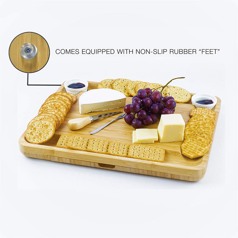 Home Perspective Extra Large Bamboo Cheese Board and Knife Set - Charcuterie Platter Tray Holds 6 Knives, 4 Forks and 2 Ceramic Cups with New Magnetic tray