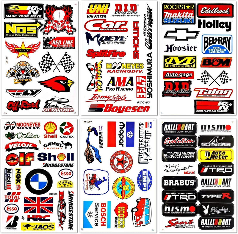 Auto Car Race Hot Rod Racer Performance Equipment Tool Automotive Motorsport Skateboard Bike Parts Accessories Helmet Racing Pack 6 for Kids Adults Teens Graffiti Vinyl Decals Stickers D6728 Best4Buy