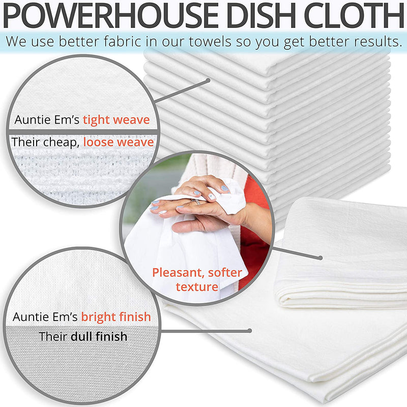 Aunti Em's Kitchen Flour Sack Dish Towels - Set of 13 - Natural Cotton for Embroidery and Drying Glass, Hand, Dinnerware - Plain, Thick, Zero-Lint - Absorbent Cloth with Hanging Loop - 27 x 27 Inch