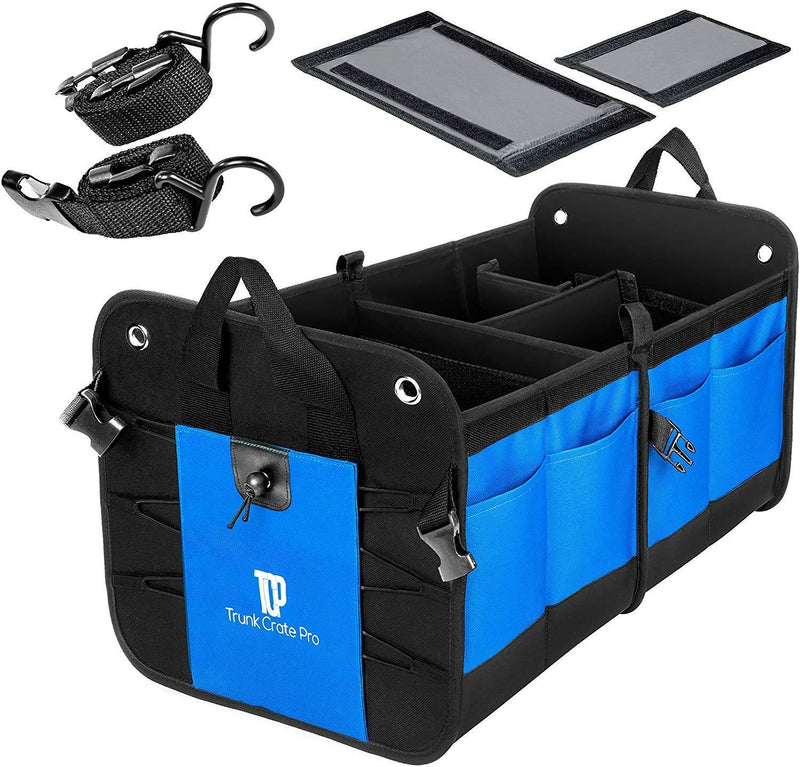 TRUNKCRATEPRO Collapsible Portable Multi Compartments Heavy Duty Non-Slip Cargo Trunk Organizer Storage, Blue