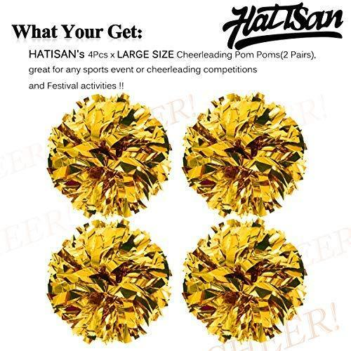 hatisan 4Pcs Large Cheerleader Pom Poms, Pom Poms Cheerleading Metallic Foil & Plastic Ring Pompoms Cheerleader, Cheerleading Poms Accessory Pompoms Cheer for Sports Team Spirit Cheering