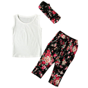 Girls set Sleeveless Shirt/Tops + Floral Pants + Hair Band - Humble Ace