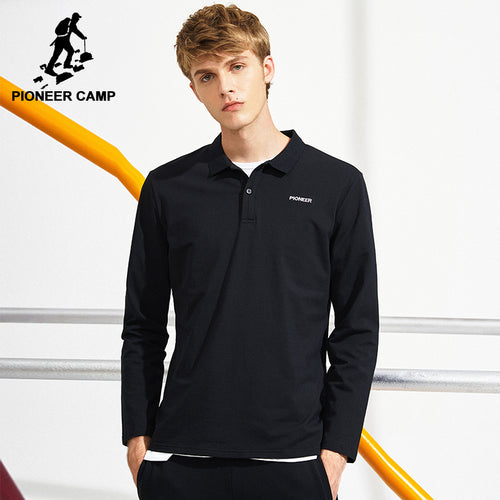 Pioneer Camp black long sleeve Polo shirt men - Humble Ace