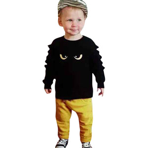 Kids Cartoon Eyes Print Tops+Pants Clothes - Humble Ace