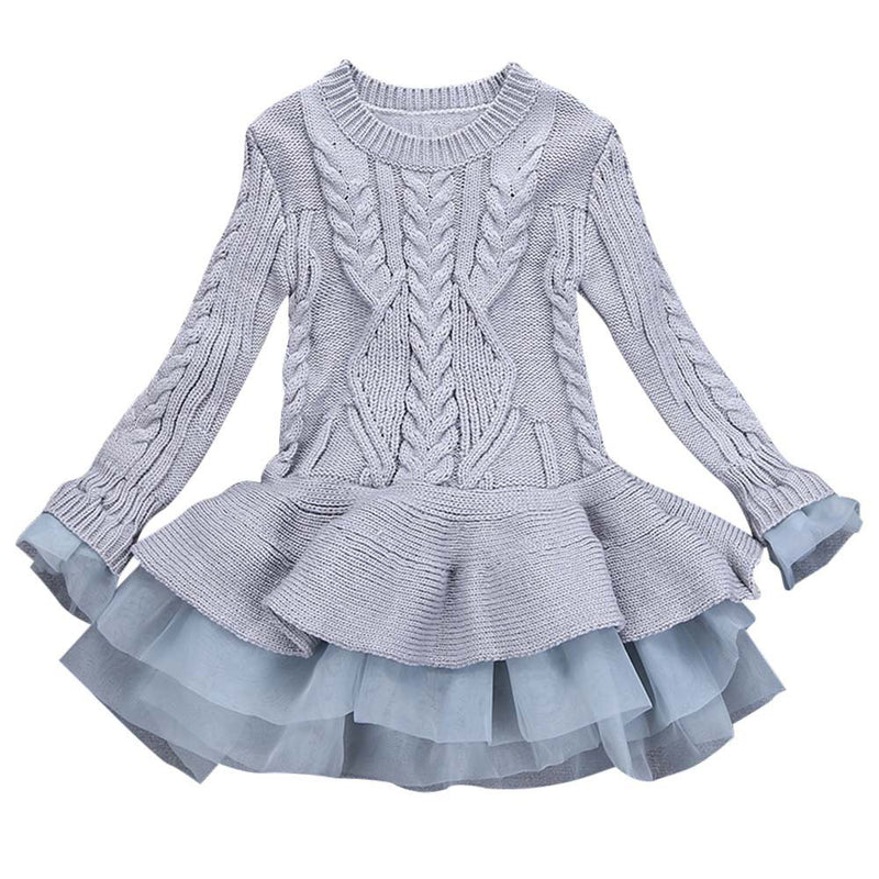 Girls dress Knitted Sweater Winter Pullovers Crochet Tutu - Humble Ace