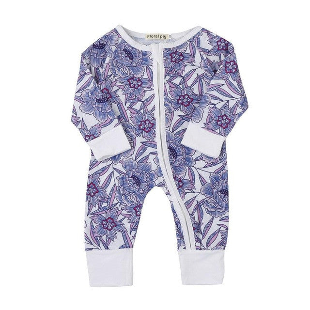 Newborn Girls Flower Print Romper Jumpsuits - Humble Ace