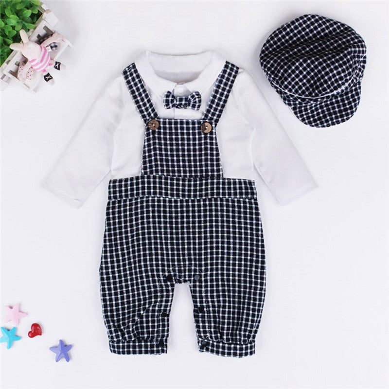 Newborn Rompers Jumpsuit Gentleman Rompers+Cap Suits - Humble Ace