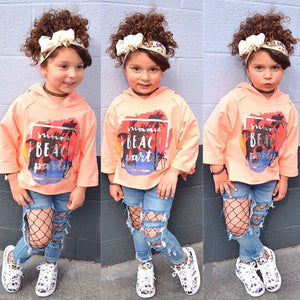 2 Pcs Clothing set Long Sleeve Print Hoodie Tops + Hole Denim Pants