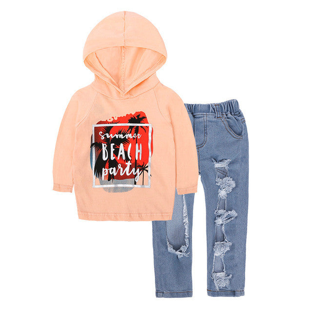 2 Pcs Clothing set Long Sleeve Print Hoodie Tops + Hole Denim Pants - Humble Ace