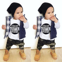 kids Letter T shirt Tops Camouflage Pants Outfits - Humble Ace