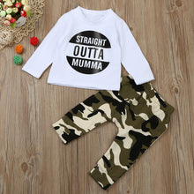 kids Letter T shirt Tops Camouflage Pants Outfits
