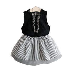 Girls Clothing Set Solid Vest +Skirt 2Pcs