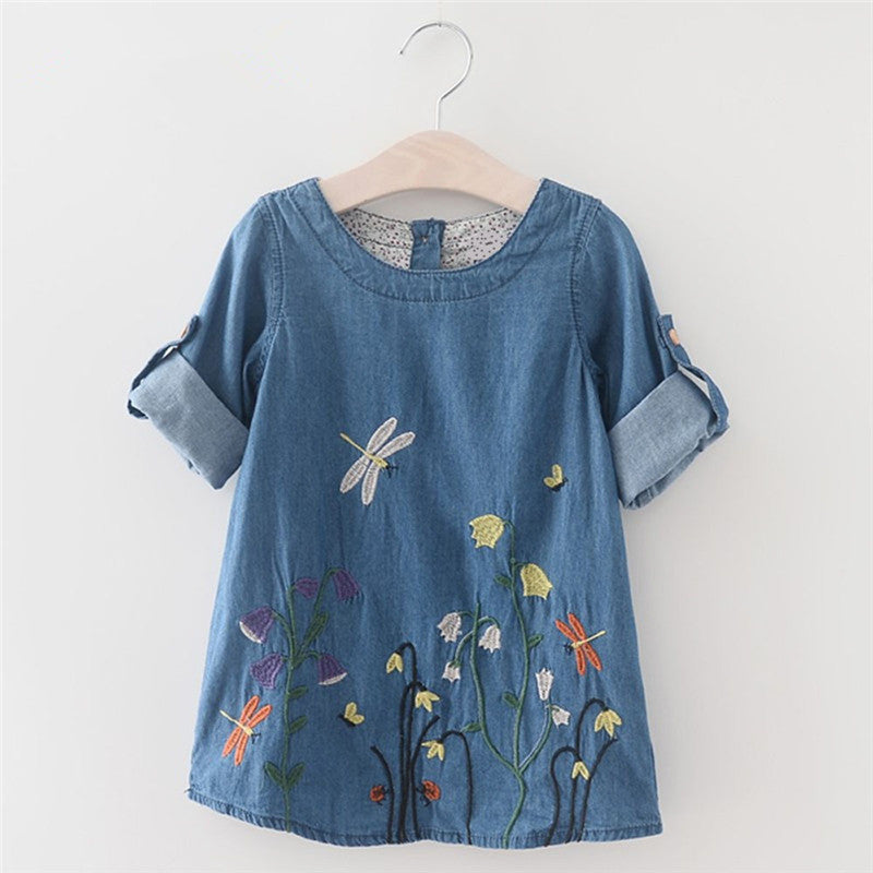 Denim Dress for Girls Embroidered Flowers - Humble Ace