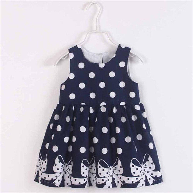 Girls Dress Sleeveless Dot Printing Princess Party Dress - Humble Ace