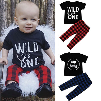 Baby boy t-shirt Tops + Plaid Pants Outfits
