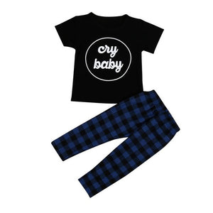 Baby boy t-shirt Tops + Plaid Pants Outfits - Humble Ace