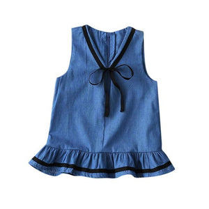 Toddler  Girls Denim Bowknot Sleeveless Princess Party Tutu Dresses - Humble Ace