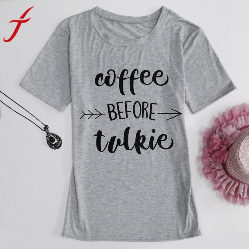 Women coffee before talkie Letter Printing Loose Tops - Humble Ace