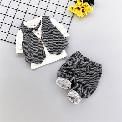 3pcs Suit T-shirt Tops+ Vest +Pants T
