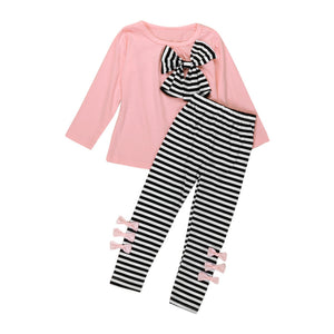 2Pcs Girls Clothing Long Sleeve Bowknot Dress T-Shirt+Stripe Pants Set - Humble Ace