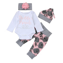 "Baby Girls ""Daddy's Princess"" Romper Tops+Floral Pants Hat Clothes Set - Humble Ace"