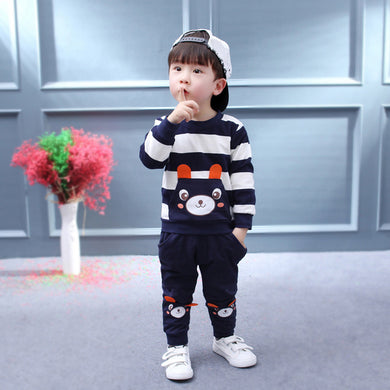 Boy Clothes Set Striped Bear Tops+Pants Outfit