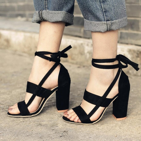 Cross Strap High Heel Thick Heel Plus Size women Sandals - The Poacher Online